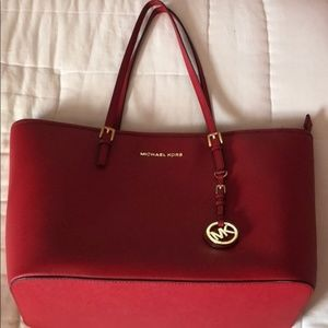 Michael Kors Red Jet Set Saffiano Leather Bag
